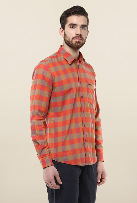 Turtle Orange Checks Casual Shirt