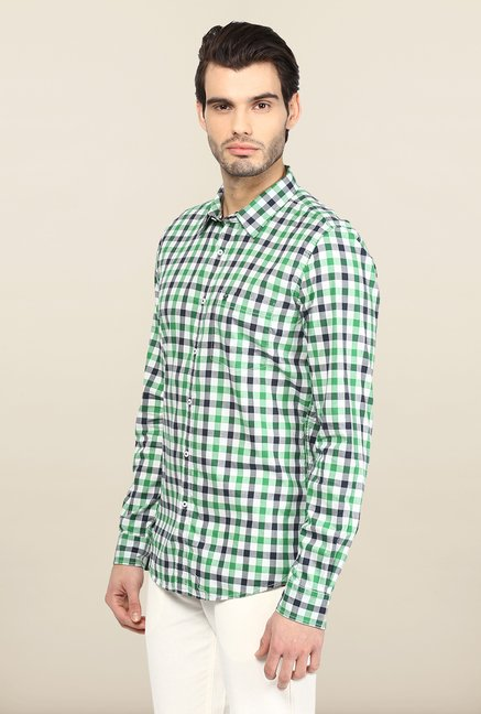 Turtle White And Green Checks Casual Shirt