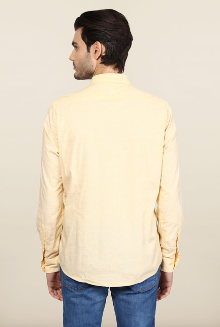 Turtle Orange Textured Casual Shirt