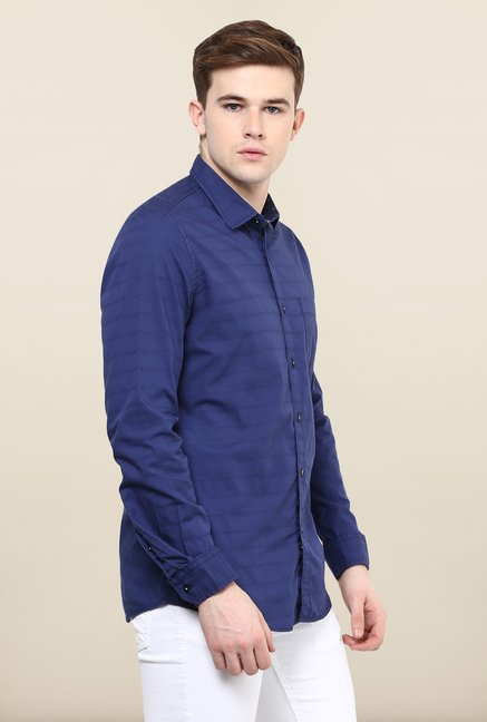 Turtle Navy Striped Casual Shirt
