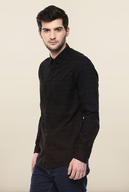 Turtle Black Striped Casual Shirt