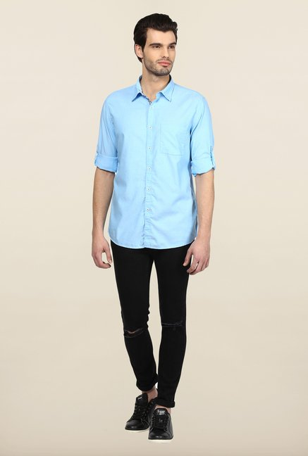 Turtle Sky Blue Solid Casual Shirt