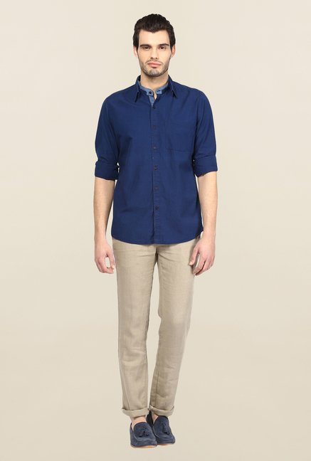 Turtle Blue Solid Casual Shirt