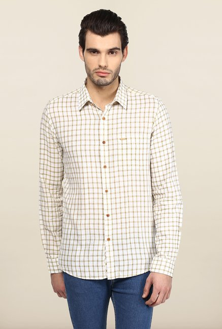 Turtle White Checks Casual Shirt