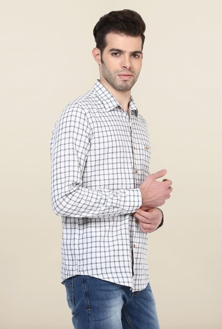 Turtle White & Grey Checks Casual Shirt