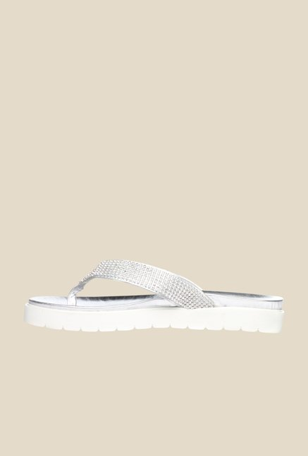 Pavers England Silver Thong Sandals