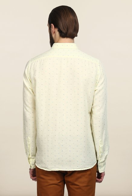 Turtle Light Yellow Printed Casual Shirt