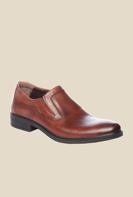 Pavers England Brown Leather Slip-On Shoes