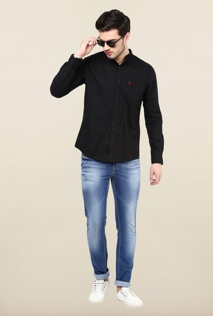 Turtle Black Solid Casual Shirt
