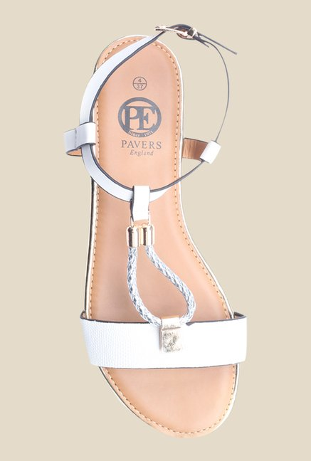 Pavers England White Back Strap Sandals