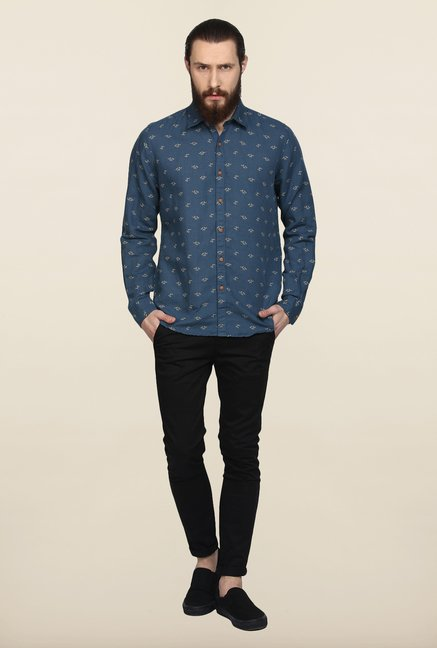 Turtle Blue Printed Casual Shirt