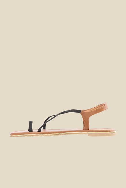 Pavers England Black & Nude Cross Strap Sandals