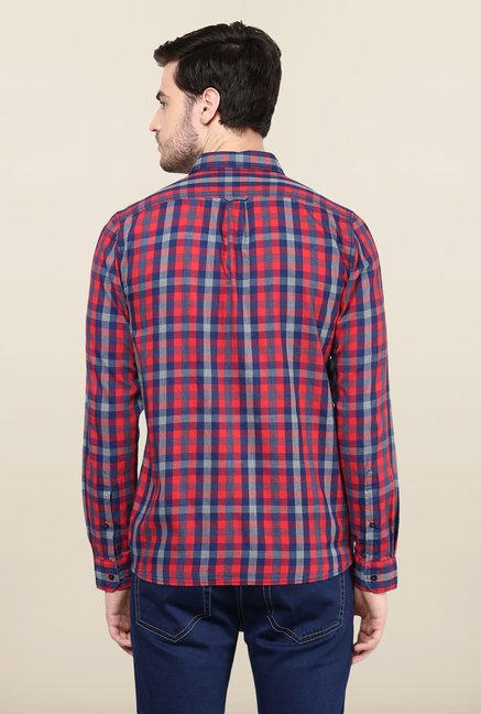 Turtle Red And Blue Checks Casual Shirt