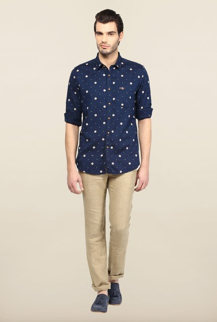 Turtle Navy Printed Casual Shirt
