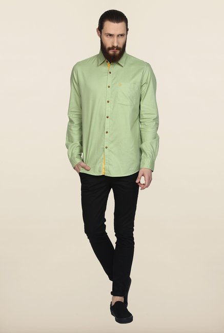 Turtle Green Solid Casual Shirt