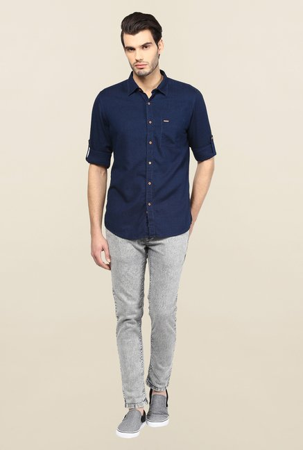 Turtle Navy Solid Casual Shirt