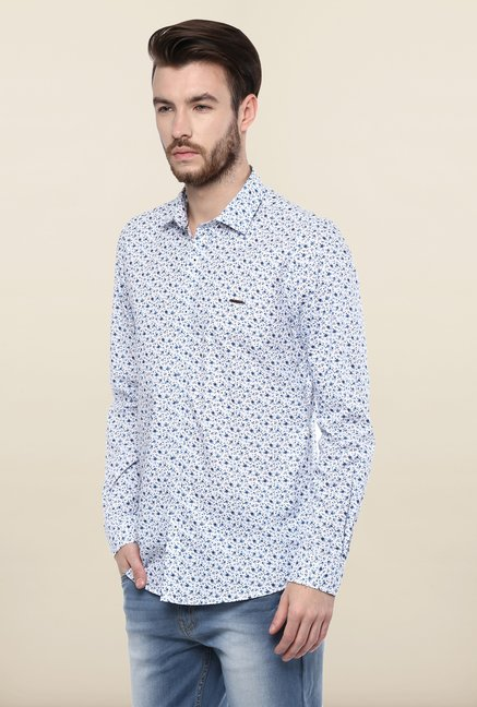Turtle White Floral Print Casual Shirt