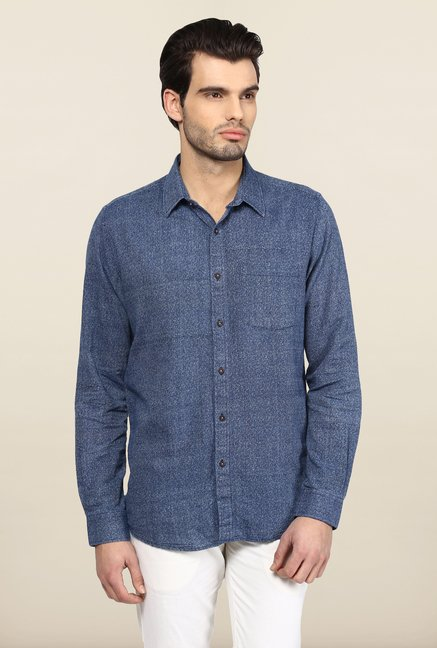 Turtle Blue Printed Khadi Casual Shirt