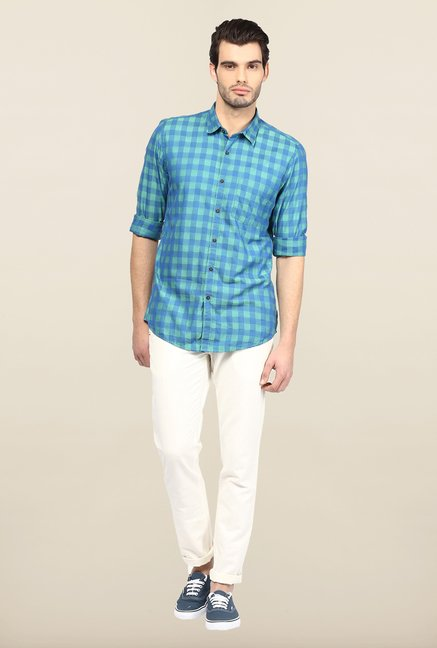 Turtle Blue And Green Checks Casual Shirt
