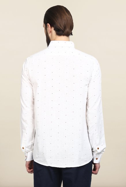Turtle White Printed Khadi Casual Shirt