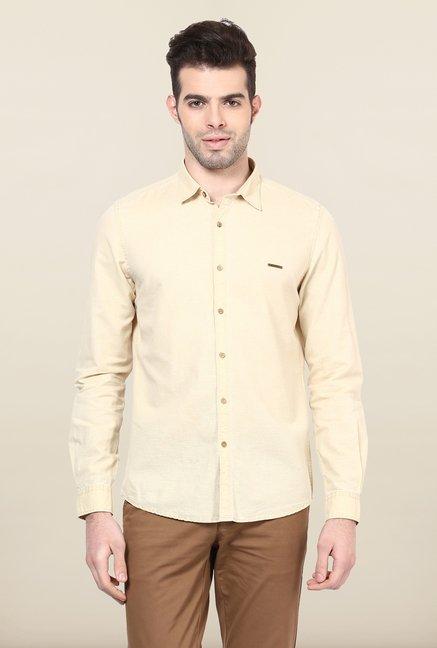 Turtle Beige Solid Casual Shirt