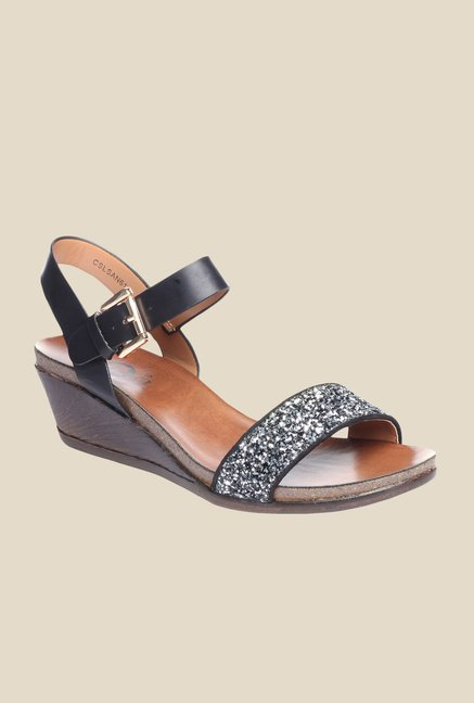 7d495028a532 Buy Pavers England Black   Silver Ankle Strap Wedges Online at best price  at TataCLiQ