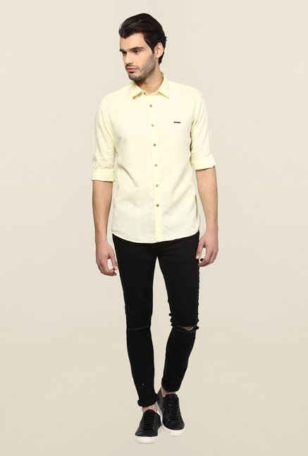 Turtle Yellow Solid Casual Shirt