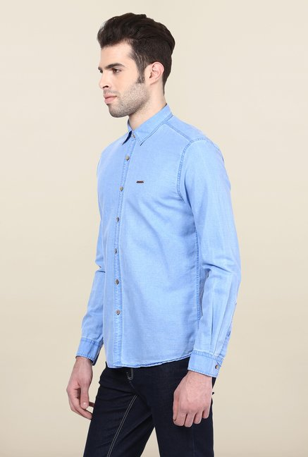 Turtle Light Blue Solid Casual Shirt
