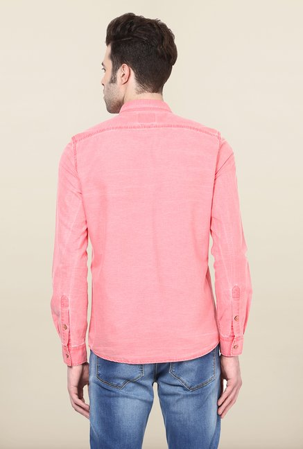 Turtle Pink Solid Casual Shirt