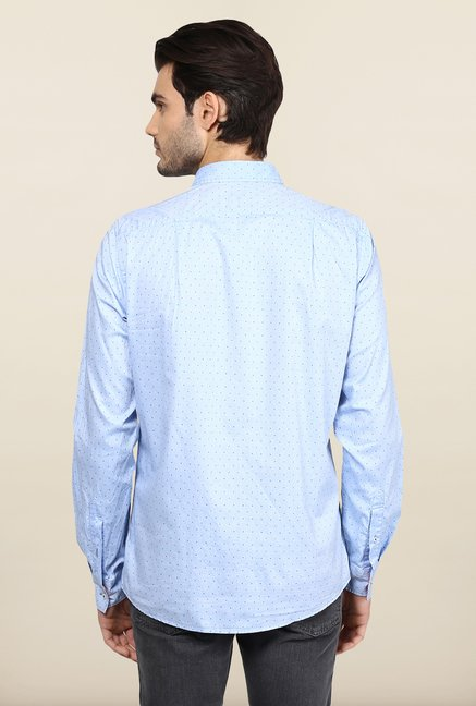 Turtle Light Blue Printed Casual Shirt