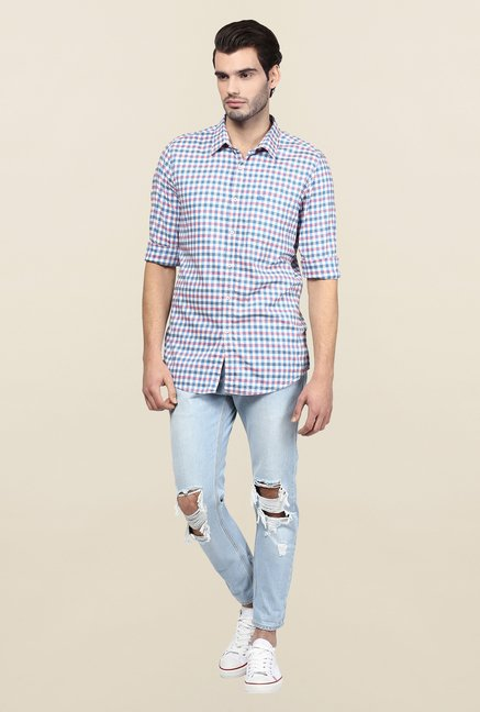 Turtle Blue Checks Casual Shirt