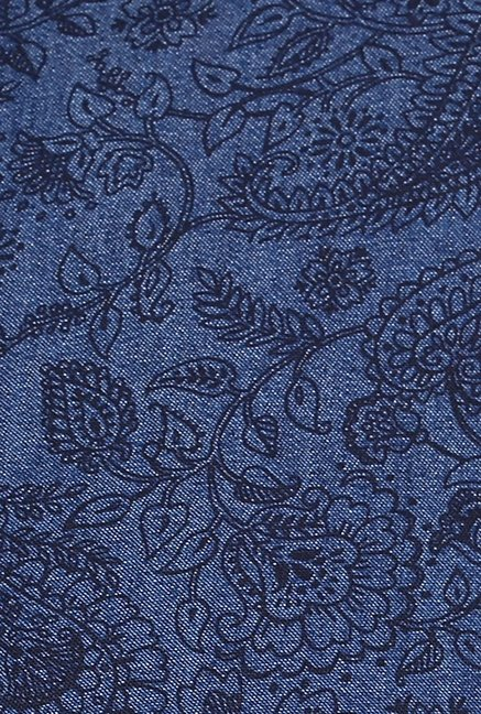 Turtle Dark Blue Paisley Print Casual Shirt