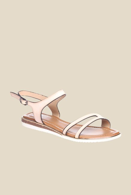 Pavers England Beige Back Strap Sandals