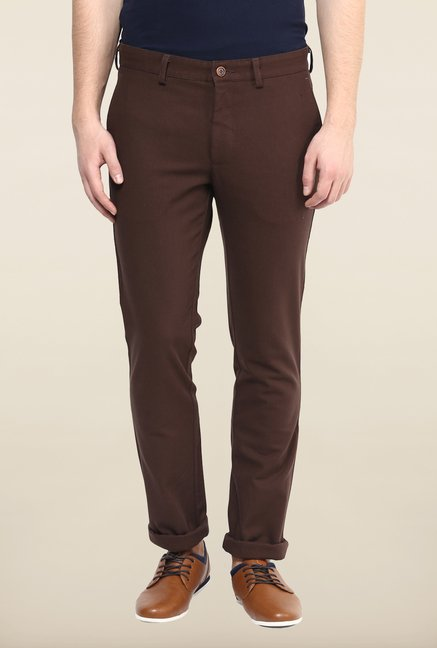 Turtle Brown Textured Casual Trouser