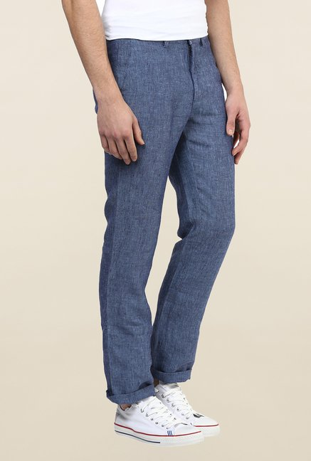 Turtle Blue Linen Casual Trouser