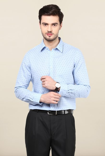 Turtle Light Blue Floral Printed Formal Shirt