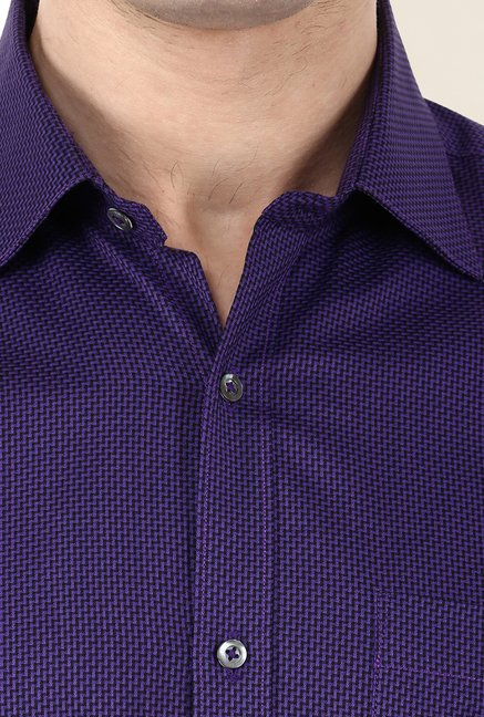 Turtle Purple Textured Formal Shirt