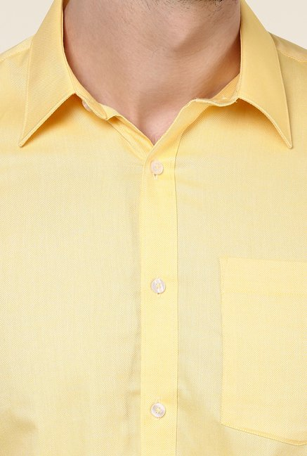 Turtle Yellow Textured Formal Shirt