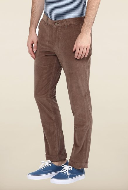 Turtle Brown Corduroy Casual Trouser