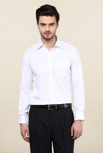 Turtle White Textured Formal Shirt