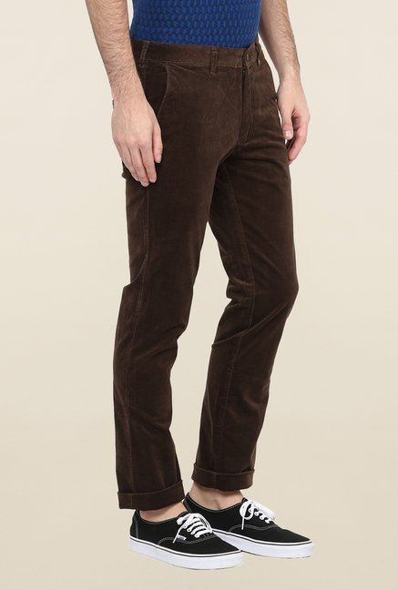 Turtle Dark Brown Corduroy Casual Trouser