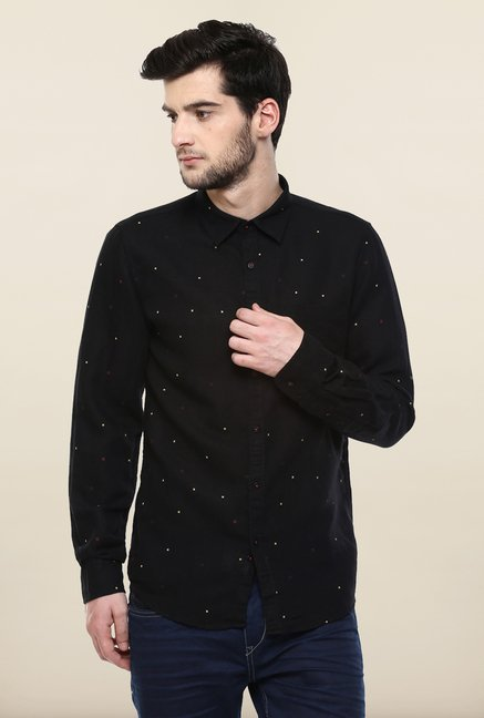 Turtle Black Printed Casual Shirt