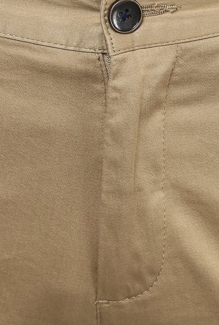 Turtle Beige Solid Casual Trouser