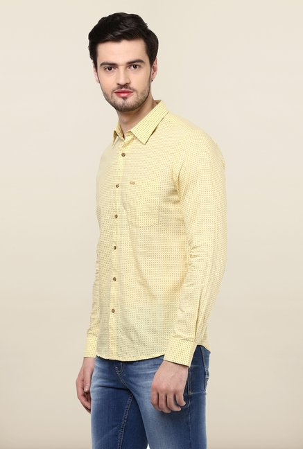 Turtle Yellow Printed Khadi Shirt