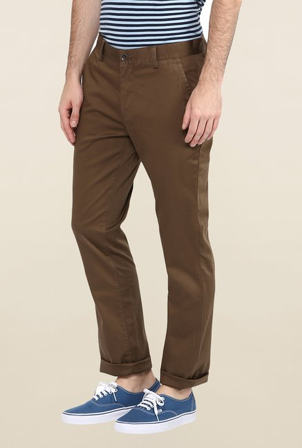 Turtle Brown Solid Casual Trouser