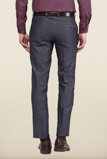 Turtle Dark Grey Linen Formal Trouser