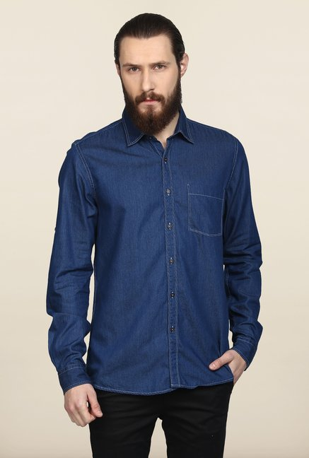 Turtle Blue Denim Casual Shirt