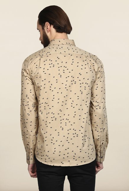 Turtle Beige Printed Casual Shirt