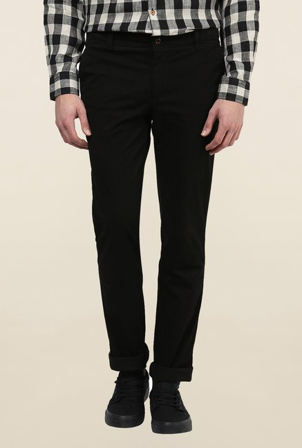 Turtle Black Solid Casual Trouser