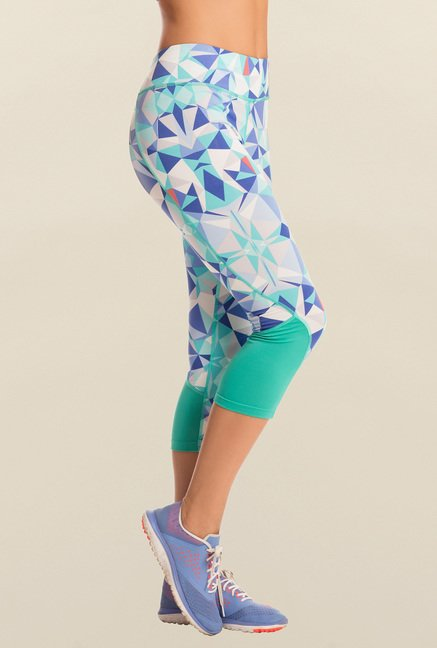 Pretty Secrets Aqua Blue Aztec Cropped Leggings